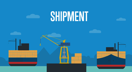container port: Shipment with container ship illustration in flat design. Freight crane loading cargo vessel. Industrial freight port, container terminal, worldwide logistics and maritime shipping