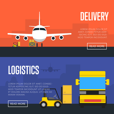 air freight: Delivery and logistics banners illustration. Forklift truck loading cargo jet airplane and freight truck in airport. Worldwide logistics, delivery transportation, air freight shipping company