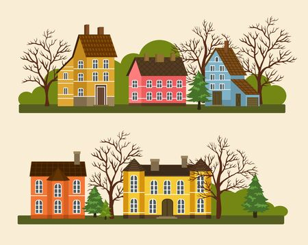 suburban street: Suburban residential street illustration in flat design. Private cottage architecture, street of residential houses, real estate, family home concept. Brick houses and neighborhood front view