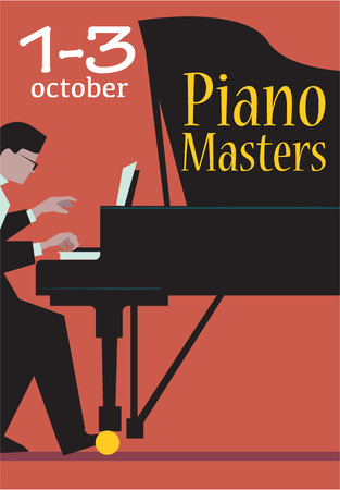 maestro: Live concert of piano masters poster with date. Pianist plays the grand piano illustration. For classical music live concert,  festival advertising poster, ticket or banner design