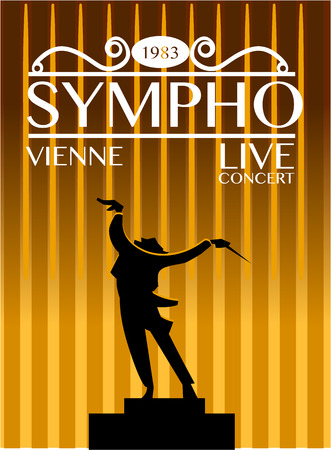 Vienna symphony orchestra live concert poster. Expressive conductor directs orchestra during performance silhouette illustration. For music festival advertising  design