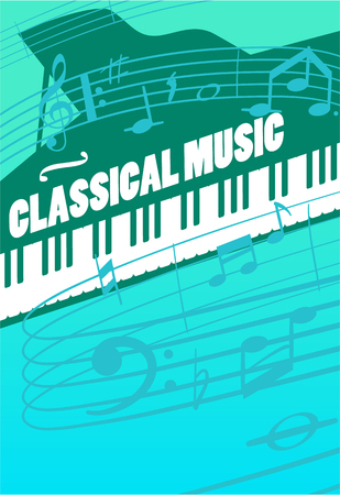 symphonic: Classical music concept. Grand piano keys, musical key end notes on staff illustrations. For symphonic orchestra live concert, music festival advertising poster or banner design
