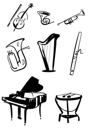 symphony orchestra: Classical symphony orchestra musical instruments set. Violin with bow, timpani, trumpet, horn, tuba, piano, harp, bassoon drawn line illustrations isolated on white background