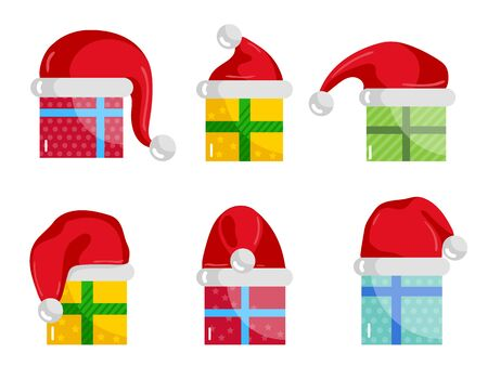 christmastide: Christmas gifts icons. Colorful wrapped presents in Christmas hats illustration isolated on white background set. Merry Christmas and Happy New Year concept.