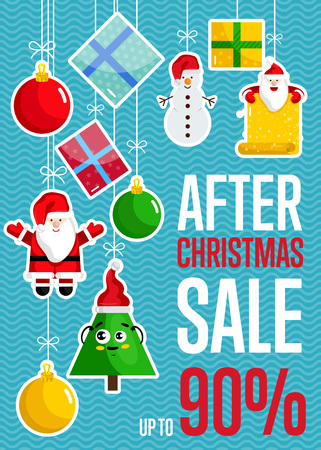 After Christmas sale concept with toys discount percents. Cute Santa, Christmas tree, snowman, toys, gift boxes hanging on ropes illustrations. For winter seasonal store sales promotions