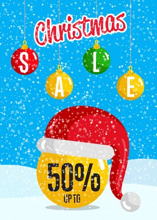 Christmas sale poster. Ball christmas toy in Santa hat, colorful toys hanging on rope in snowfall . Merry Christmas and Happy New Year concept for seasonal store sales and discounts promo