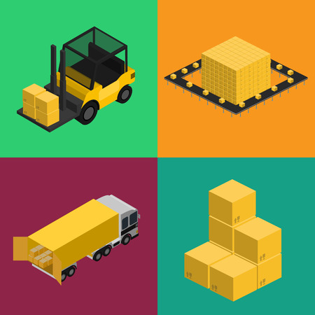 boxes stack: Delivery logistics and transportation isometric illustration. Commercial truck, forklift with boxes, stack of packing boxes icons. Warehouse logistics, delivery business, freight shipping set