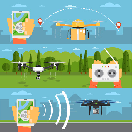 piloting: Drone technology banner with remotely controlled flying robots in park vector illustration. Radio controller with smartphone for piloting multicopter. Unmanned aerial vehicle. Modern flying device