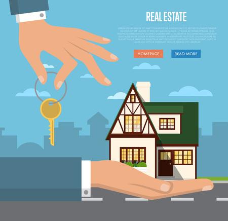 agente immobiliare con modello di casa e illustrazione vettoriale chiave. fondo commerciale. concetto di business immobiliare con la casa. casa da sogno di famiglia. casa Trading.