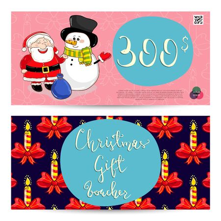 qrcode: Christmas gift voucher template. Gift coupon with Xmas attributes and prepaid sum. Cute snowman, wrapped gifts, christmas tree toys cartoon vectors. Merry Christmas and Happy New Year greeting card Illustration