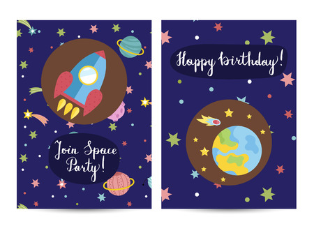 Happy birthday cartoon greeting card on space theme. Rocket flying through cosmos, planet Earth surrounded stars and comet on blue background vector. Bright invitation on childrens costumed party