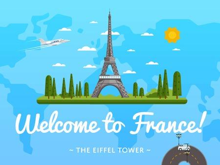 guia de turismo: Bienvenido a Francia con la ilustración del cartel famosa atracción de vectores. diseño del viaje con la Torre Eiffel. Tiempo al concepto de viaje con Francia hito arquitectónico, guía turístico para la agencia de viaje Vectores