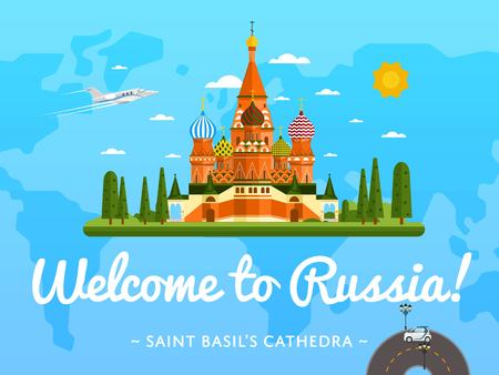 Welcome to Russia poster with famous attraction vector illustration. Travel design with Saint Basils Cathedral at Red Square. World landmark and historical place, tour guide for traveling agency