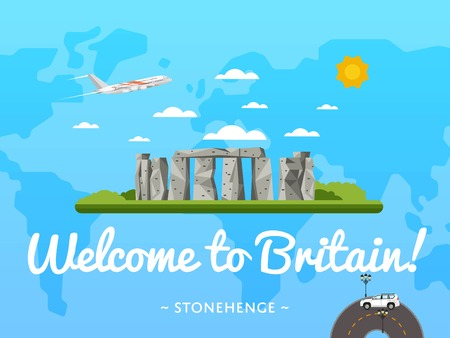 Welcome to Britain poster with famous attraction vector illustration. Travel design with megalithic monument Stonehenge. World air travel and tourism concept, Britain architectural landmark Illustration