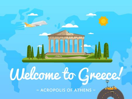 acropolis: Welcome to Greece poster with famous attraction vector illustration. Travel design with Parthenon temple on Acropolis. Famous architectural landmark and worldwide traveling, tourist agency banner Illustration