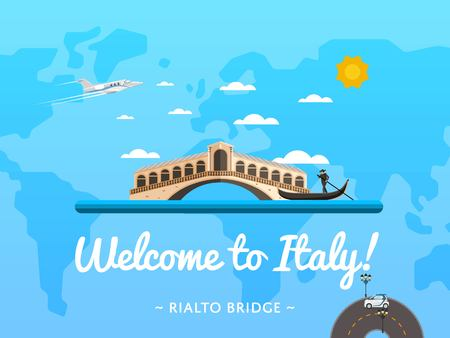 rialto: Welcome to Italy poster with famous attraction vector illustration. Travel design with Rialto Bridge in Venice. Famous architectural landmark and worldwide traveling concept, tourist agency banner