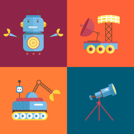 Space objects cartoon icons. Angry robot with claws, exploration rovers, telescope on stand vector illustrations isolated on orange and blue background. Illustration
