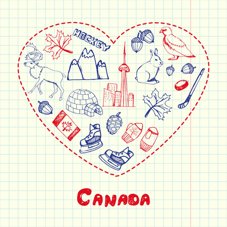 checked flag: Love Canada. Dotted heart filled with colored doodles associated with japanese nation on squared paper vector illustration. North America journey memories. Sketched nature, sports, architecture icons Illustration