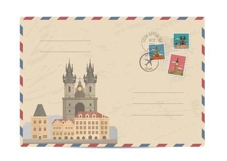 monumento: Iglesia de Nuestra Señora de Tyn, Praga. Sobre postal con la composición arquitectónica famosa, sellos y matasellos ilustración vectorial. Servicios postales. la entrega de sobres