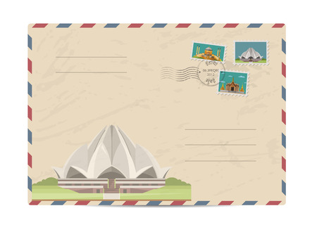 bahai: Lotus Temple in Delhi, India. Postal envelope with famous architectural composition, postage stamps and postmarks on white background vector illustration. Postal services. Envelope delivery. Illustration