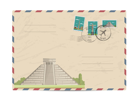 postmarks: Chichen Itza Tulum Kukulcan crypt tomb pyramid, Mexico. Postal envelope with famous architectural composition, postage stamps and postmarks on white background vector illustration. Postal services.