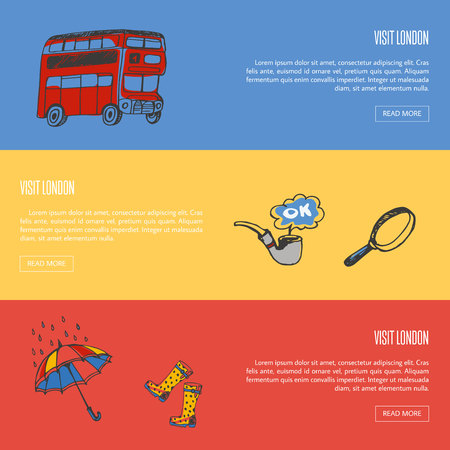 Visit London banners. Red double-decker bus, hand drawn vector illustrations on colored backgrounds. For travel company web page design Illustration