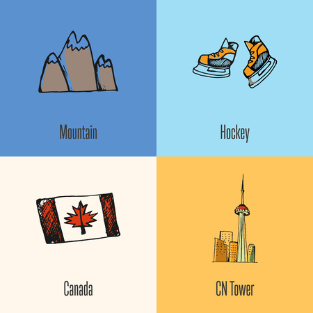 peaks: Canadian national symbols. Mountains snow peaks, ice hockey skates, flag, Toronto CN tower hand drawn doodle vector icons collection with caption. Country concept for travel company ad