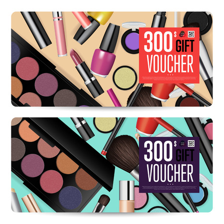 Cosmetics gift voucher template. Gift coupon with fashion makeup accessories and prepaid sum. Makeup brush, powder, lipstick, pencil, polish vectors. Special exclusive offer for cosmetics product sale Illustration