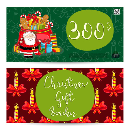 qrcode: Christmas gift voucher template. Gift coupon with Xmas attributes and prepaid sum. Santa, gifts, christmas tree, gingerbread cookie cartoon vectors. Merry Christmas and Happy New Year greeting card
