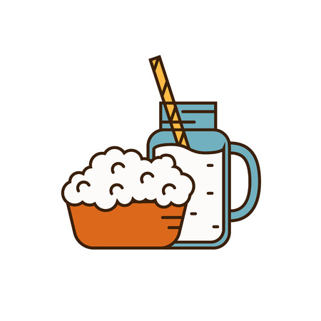 cottage cheese: Dairy icon in line style design with cottage cheese on plate and glass jug with milk, isolated vector illustration. Traditional and healthy products. Organic farming. Natural and healthy food