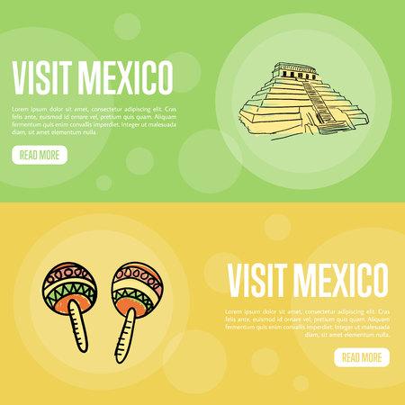 Visitez les bannières du Mexique. La pyramide antique de Mayas, des illustrations vectorielles dessinées à la main maracas sur fond de couleurs nationales. Modèles Web avec des symboles liés au pays. Pour la conception de la page Web de la société de voyage Vecteurs