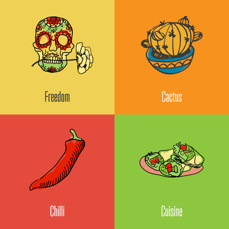 Mexico national symbols. Decorated skull, cactus in pot, burritos, chilli pepper colored hand drawn doodles vector icons with caption on colored backgrounds. Country concept for travel company ad