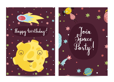 Happy birthday cartoon greeting card on space theme. Smiling moon face in cosmos, fiery comet, stars, aliens around vector on dark red background. Bright invitation on childrens costumed party