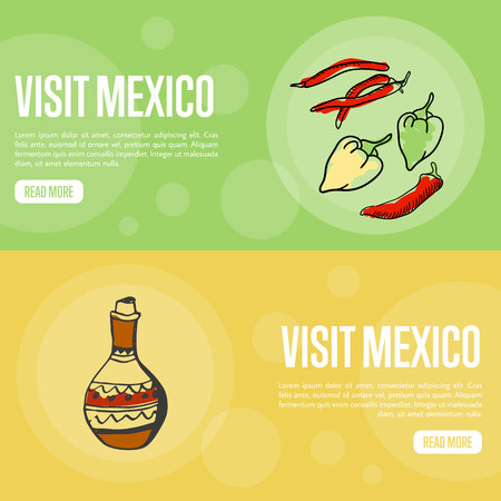 national colors: Visit Mexico banners. Chilli peppers, jug of tequila hand drawn vector illustrations on national colors backgrounds.