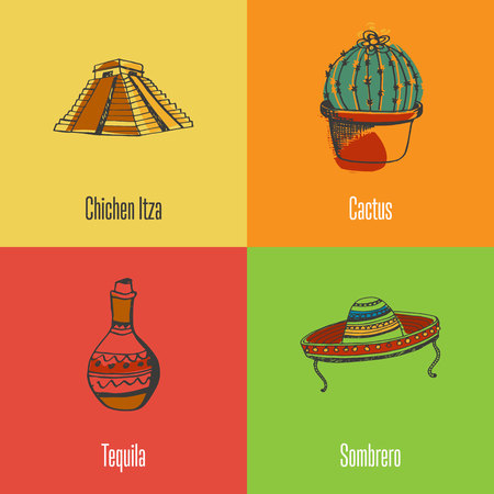 Mexico national symbols. Chichen Itza pyramid, cactus in pot, sombrero, jug of tequila colored hand drawn doodle vector icons with caption on colored backgrounds. Country concept for travel company ad Illustration