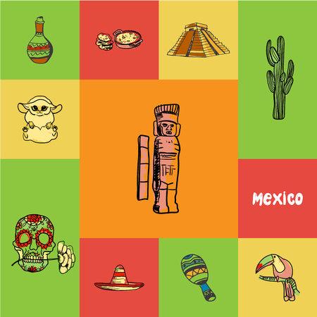 Concept à damier mexicain aux couleurs nationales. Monument mayas, cactus, toucan, maracas, sombrero, crâne, tequila, icônes de vecteur dessiné main de pyramide de cuisine. Symboles de doodle et texte relatifs au pays
