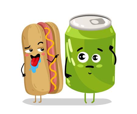 cola canette: Personnage de bande dessinée drôle de hot dog et de soda Illustration