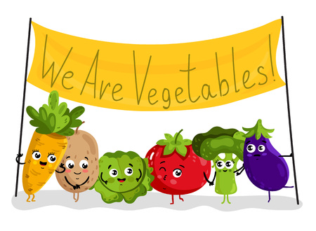 Funny vegetable isolated cartoon characters Illustration