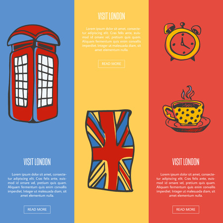 five o'clock: Visit London Touristic Vector Web Banners Illustration