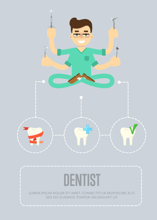 Dental office banner with male dentist