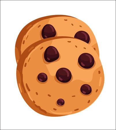 galleta de chocolate: Chocolate chip cookie cartoon illustration