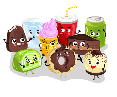 Funny sweet food and drink character set