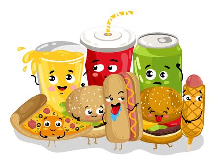 Postać z kreskówki śmieszne fast food menu