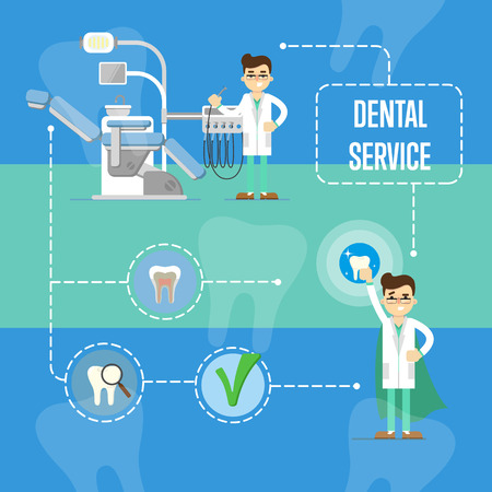 Dental service banner with dentist characters Illustration