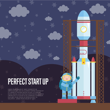 pioneer: Perfect Start Up Cartoon Vector Illustration