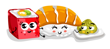 Funny sushi and sashimi set cartoon character