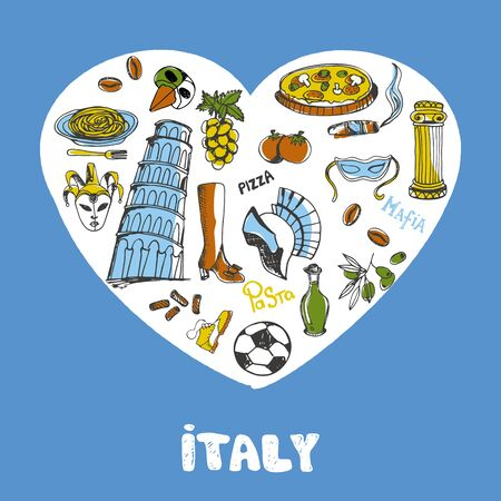 Italy Colored Doodles Vector Collection