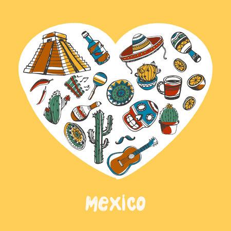 Mexique Colored Doodles Vector Collection