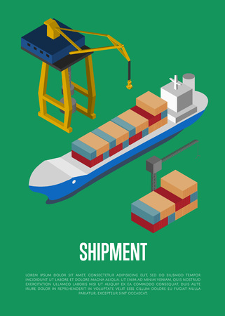 Shipment isometric banner with container ship