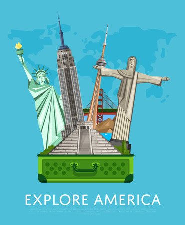 tv tower: Explore America banner with famous attractions.